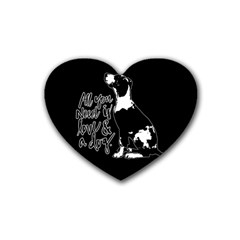 Dog Person Rubber Coaster (heart)  by Valentinaart
