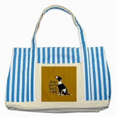 Dog Person Striped Blue Tote Bag by Valentinaart