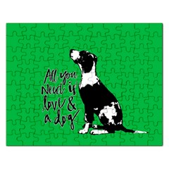 Dog Person Rectangular Jigsaw Puzzl by Valentinaart