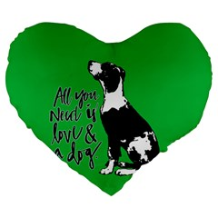 Dog Person Large 19  Premium Heart Shape Cushions by Valentinaart