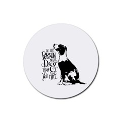 Dog Person Rubber Coaster (round)  by Valentinaart