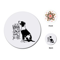 Dog Person Playing Cards (round)  by Valentinaart