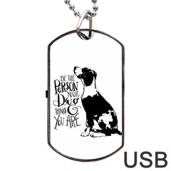 Dog Person Dog Tag Usb Flash (one Side) by Valentinaart
