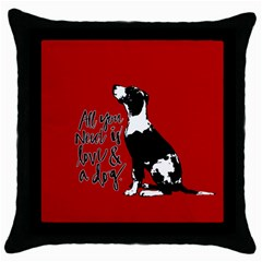 Dog Person Throw Pillow Case (black) by Valentinaart