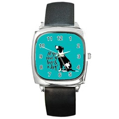 Dog Person Square Metal Watch by Valentinaart