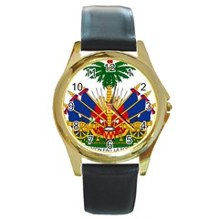 Coat Of Arms Of Haiti Round Gold Metal Watch by abbeyz71