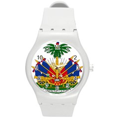 Coat Of Arms Of Haiti Round Plastic Sport Watch (m) by abbeyz71