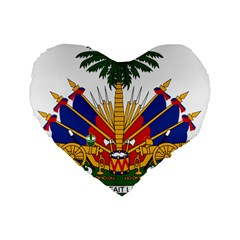 Coat Of Arms Of Haiti Standard 16  Premium Flano Heart Shape Cushions by abbeyz71