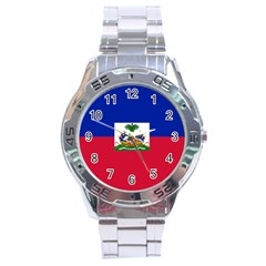 Flag Of Haiti  Stainless Steel Analogue Watch by abbeyz71