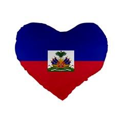 Flag Of Haiti Standard 16  Premium Heart Shape Cushions by abbeyz71