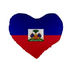 Flag Of Haiti Standard 16  Premium Flano Heart Shape Cushions by abbeyz71
