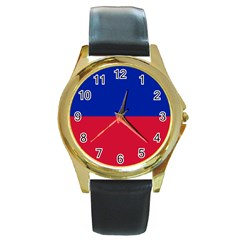 Civil Flag Of Haiti (without Coat Of Arms) Round Gold Metal Watch by abbeyz71