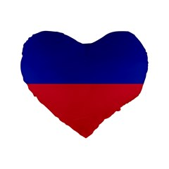 Civil Flag Of Haiti (without Coat Of Arms) Standard 16  Premium Heart Shape Cushions by abbeyz71
