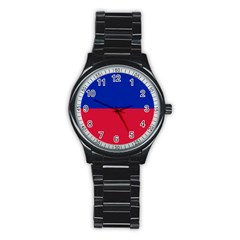 Civil Flag Of Haiti (without Coat Of Arms) Stainless Steel Round Watch by abbeyz71