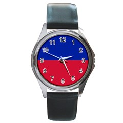 Civil Flag Of Haiti (without Coat Of Arms) Round Metal Watch by abbeyz71