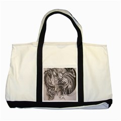 Chinese Dragon Tattoo Two Tone Tote Bag by Onesevenart