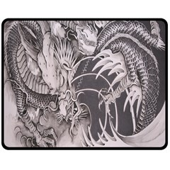 Chinese Dragon Tattoo Double Sided Fleece Blanket (medium)  by Onesevenart
