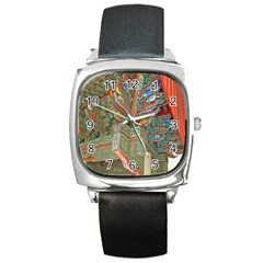 Traditional Korean Painted Paterns Square Metal Watch by Onesevenart