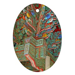Traditional Korean Painted Paterns Oval Ornament (two Sides) by Onesevenart
