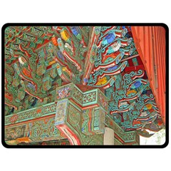 Traditional Korean Painted Paterns Double Sided Fleece Blanket (large)  by Onesevenart