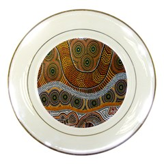 Aboriginal Traditional Pattern Porcelain Plates by Onesevenart