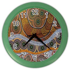 Aboriginal Traditional Pattern Color Wall Clocks by Onesevenart