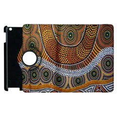 Aboriginal Traditional Pattern Apple Ipad 2 Flip 360 Case by Onesevenart
