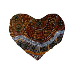 Aboriginal Traditional Pattern Standard 16  Premium Flano Heart Shape Cushions by Onesevenart