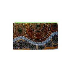Aboriginal Traditional Pattern Cosmetic Bag (xs) by Onesevenart
