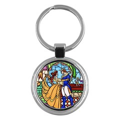 Happily Ever After 1   Beauty And The Beast  Key Chain (round) by storybeth