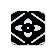 Black And White Pattern Background Rubber Square Coaster (4 Pack)  by Nexatart
