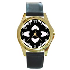 Black And White Pattern Background Round Gold Metal Watch