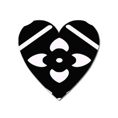 Black And White Pattern Background Heart Magnet