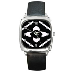 Black And White Pattern Background Square Metal Watch by Nexatart