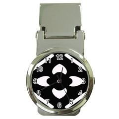 Black And White Pattern Background Money Clip Watches by Nexatart