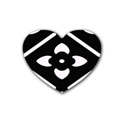 Black And White Pattern Background Heart Coaster (4 Pack)  by Nexatart