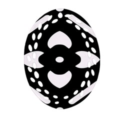 Black And White Pattern Background Oval Filigree Ornament (two Sides)