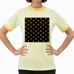 Shapes Abstract Triangles Pattern Women s Fitted Ringer T Shirts