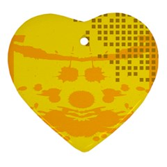 Texture Yellow Abstract Background Ornament (heart) by Nexatart