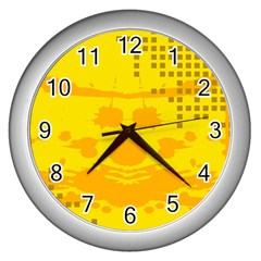 Texture Yellow Abstract Background Wall Clocks (silver)