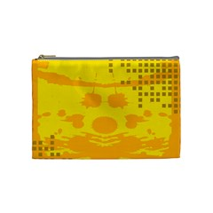 Texture Yellow Abstract Background Cosmetic Bag (medium)  by Nexatart