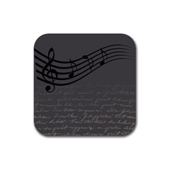 Music Clef Background Texture Rubber Square Coaster (4 Pack)  by Nexatart