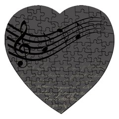 Music Clef Background Texture Jigsaw Puzzle (heart) by Nexatart