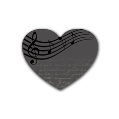 Music Clef Background Texture Heart Coaster (4 Pack)  by Nexatart