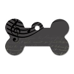 Music Clef Background Texture Dog Tag Bone (one Side) by Nexatart