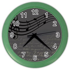 Music Clef Background Texture Color Wall Clocks by Nexatart