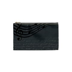 Music Clef Background Texture Cosmetic Bag (small)  by Nexatart