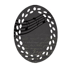 Music Clef Background Texture Oval Filigree Ornament (two Sides) by Nexatart