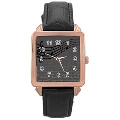 Music Clef Background Texture Rose Gold Leather Watch