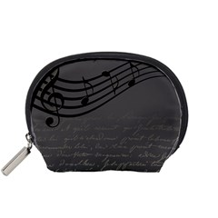 Music Clef Background Texture Accessory Pouches (small)  by Nexatart